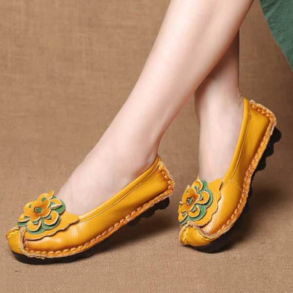 SOCOFY Leather Handmade Flat Loafers
