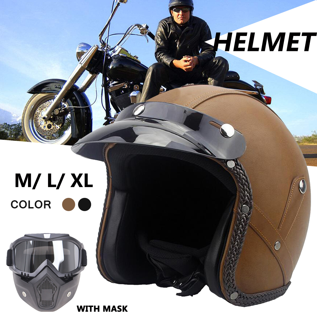 Retro Vintage Leather 3/4 Open Face Visor Helmet Motorcycle Scooter With Goggles Mask