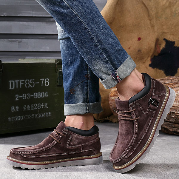 Men Comfortable Hand Stitching High Top Suede Oxfords Boots