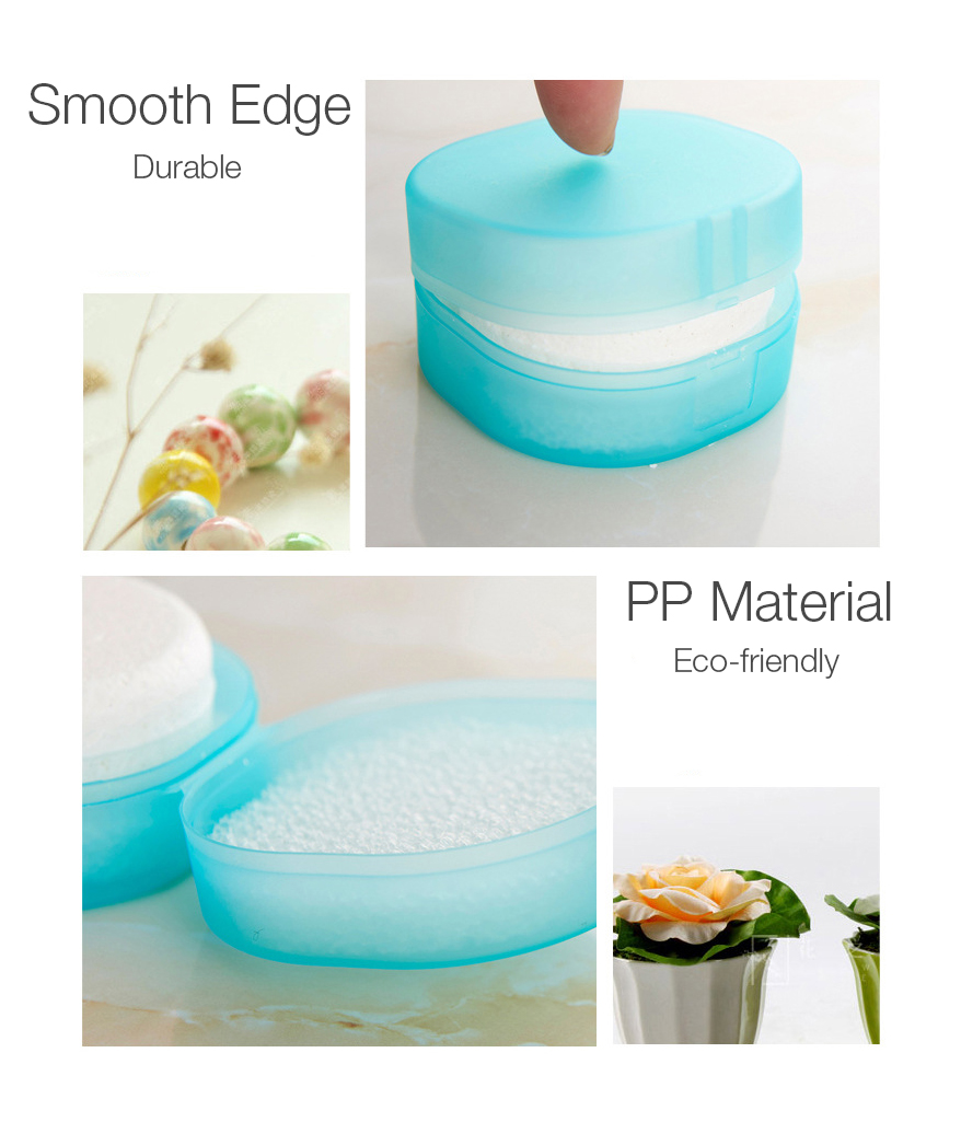 Portable Rounded Transparent Foaming Sponge Travel Soap Container Soap Storage Box