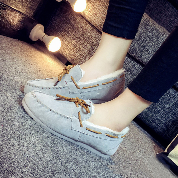 Winter Women Keep Warm Plush Casual Outdoor Soft Slip On Cotton Flat Loafers Shoes