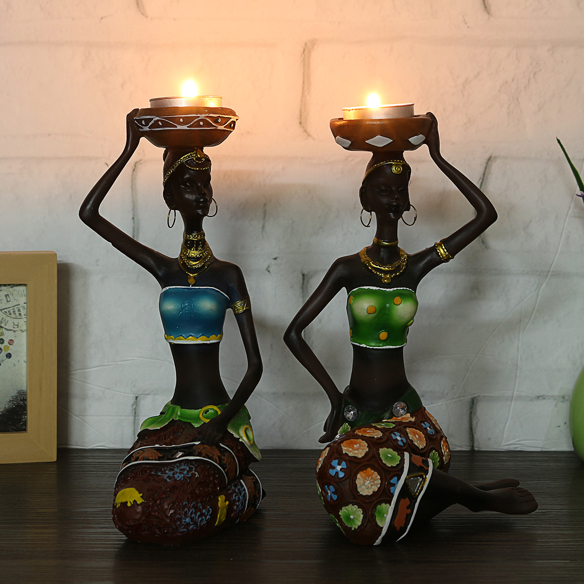 2Pcs Resin Figurine Craft Candlestick African Women Beauty Lady Statue Decorative Hardware