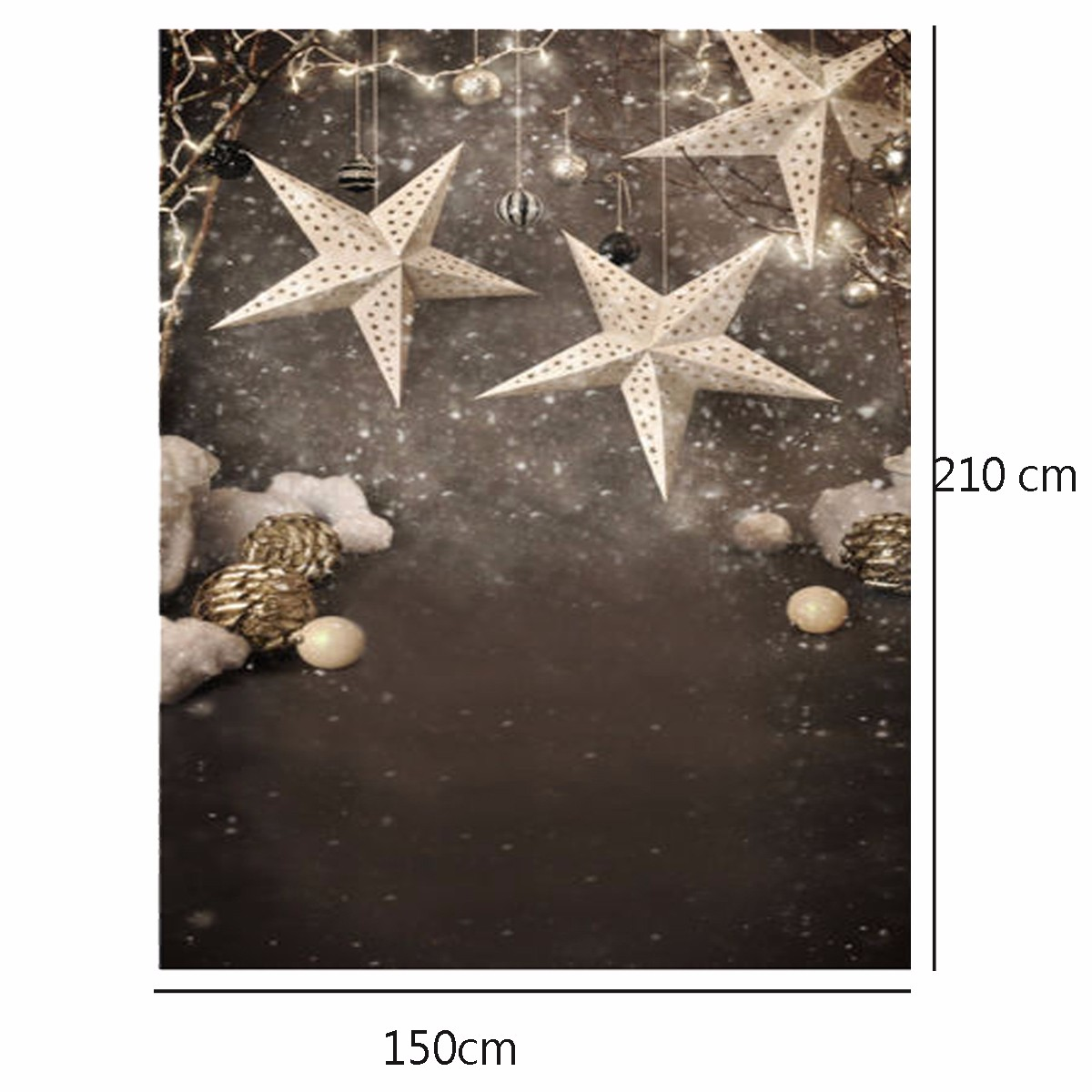 1.5x2.1m Christmas Themed Stars Snowflakes Dancing Fabric Background Vinyl