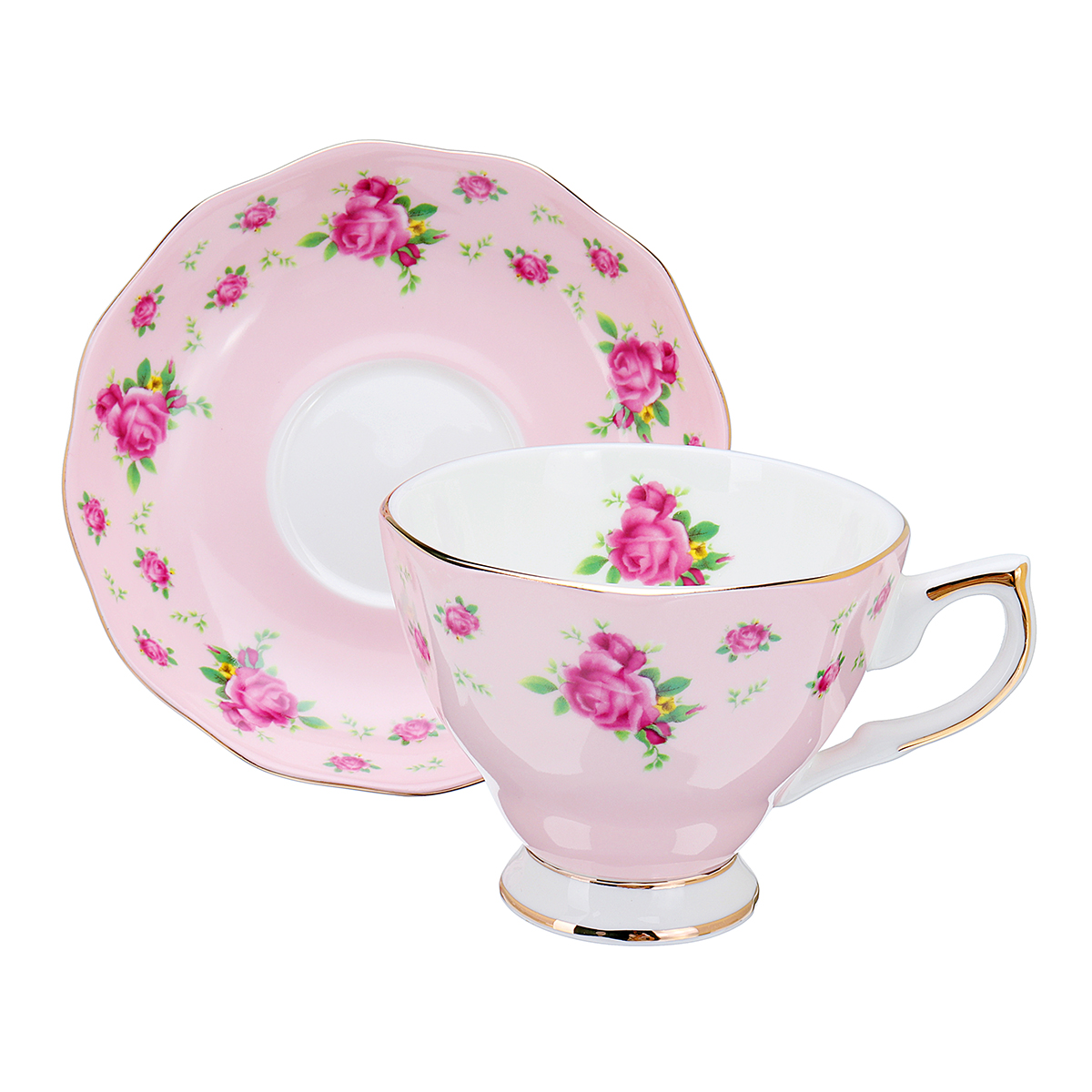 Porcelain Fashion British Bone China Cafe Cup Set Saucer Ceramic Flower Tea Set