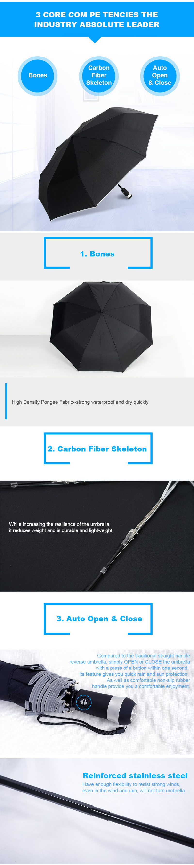 HENGLI RU-01 Multifunctional LED Luminous Automatic Umbrella Women Men Rain Umbrellas Travel Light Weight Rain Gear