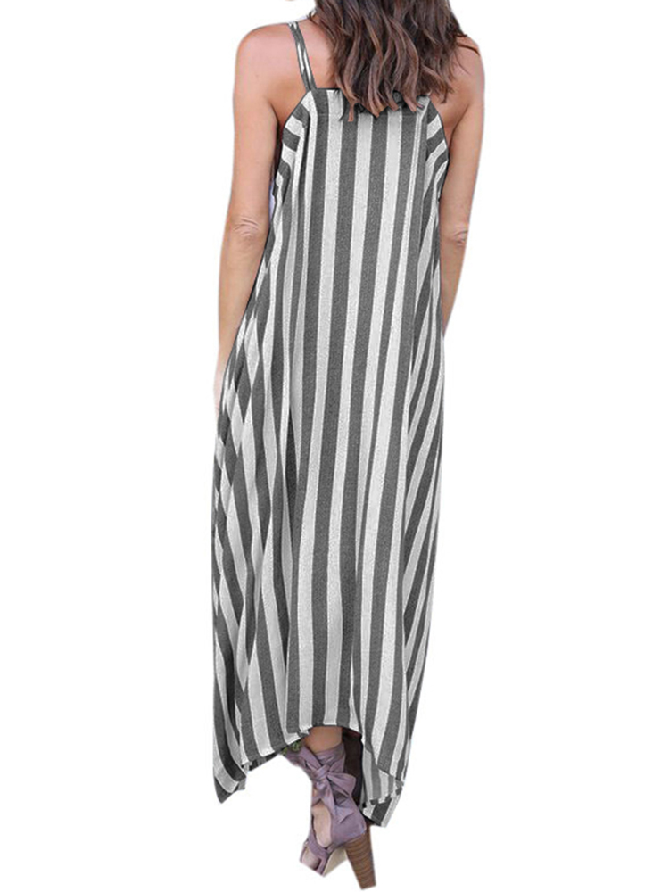 Sexy Women Stripe Off Shoulder Loose Strapless Cotton Dress