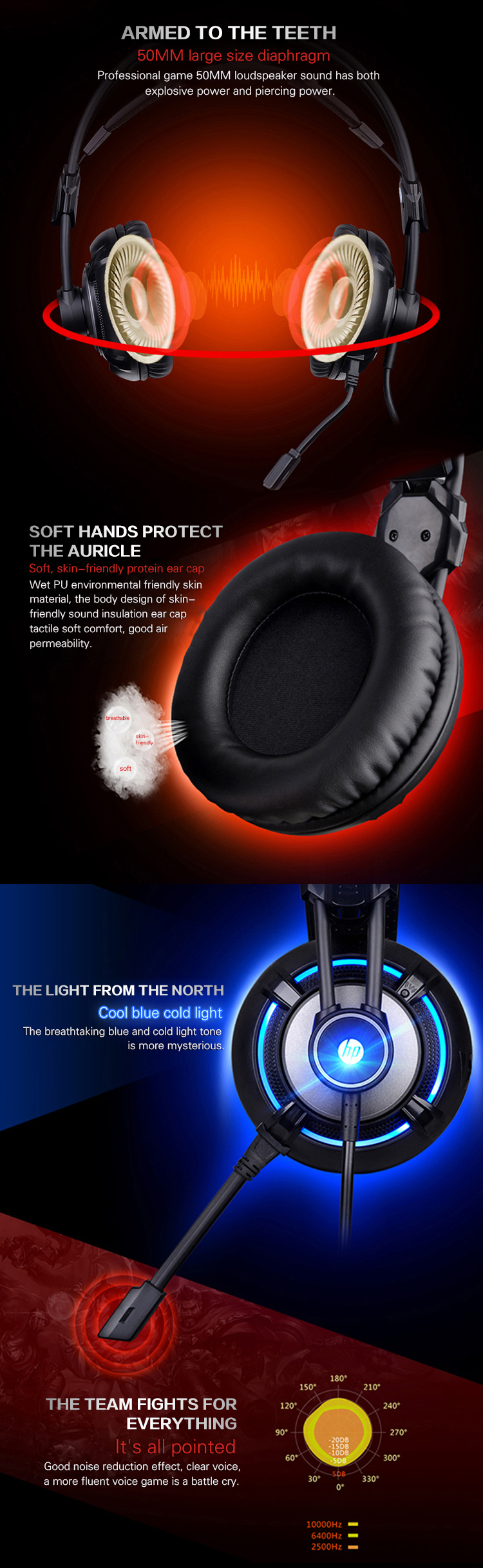 HP® H300 USB 3.5mm Wired 4D Stereo Gaming Headphone Headset with Microphone