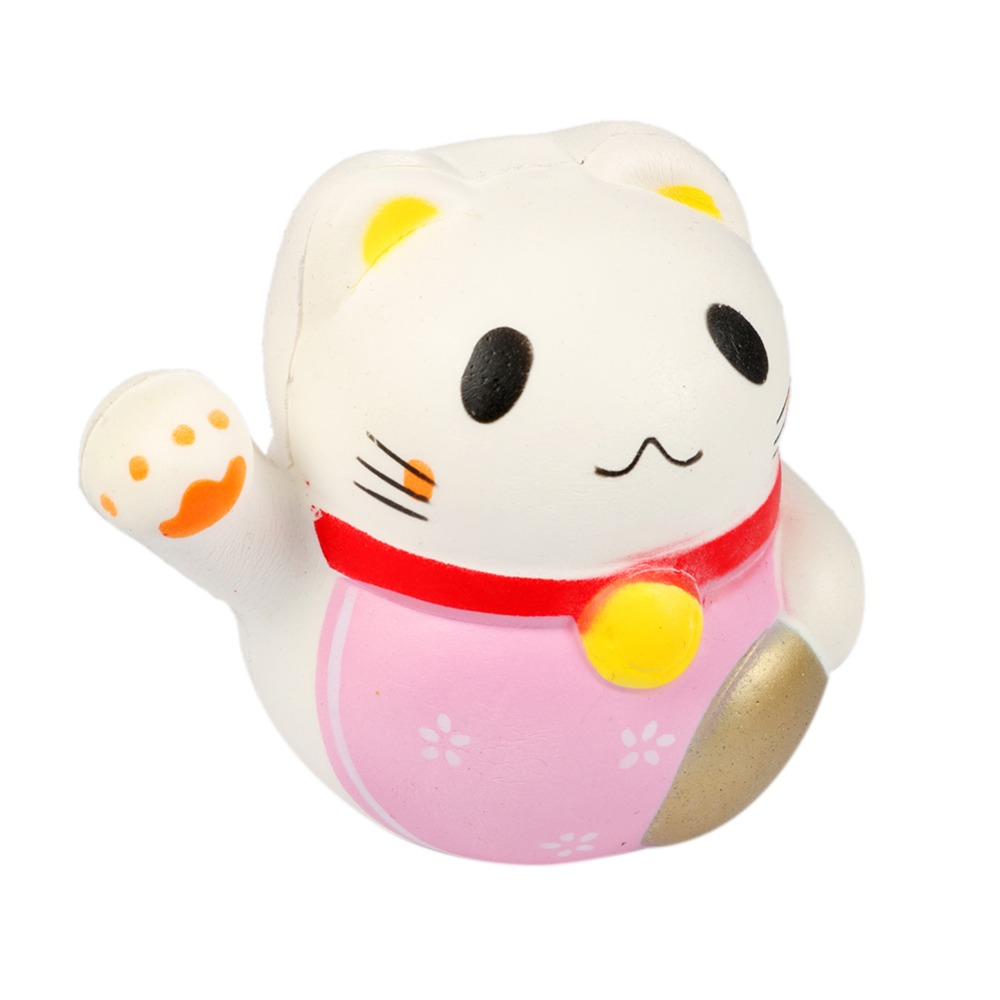 10 cm Kawaii Fortune Cat Jumbo Squishy Charms Soft Buns keychains Cell Phone Strap Pendant Squishes