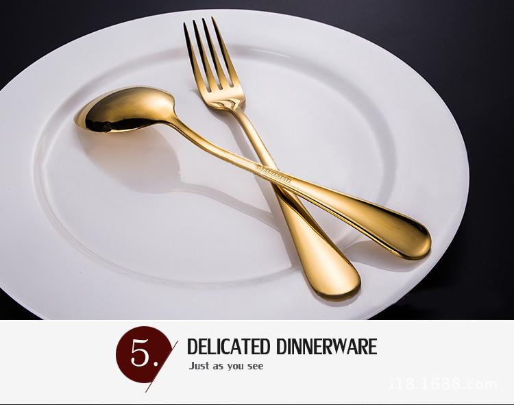 KCASA Stainless Steel Golden Western Food Dinnerware Cutlery Fork Knife & Spoons Tableware Set