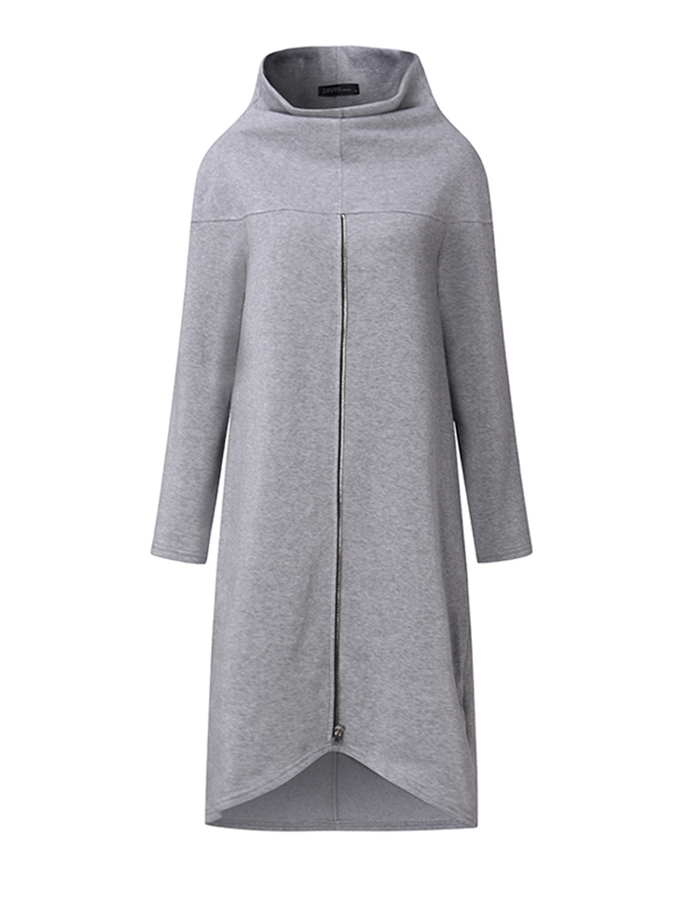 Women Long Sleeve High Neck Loose Hoodies Solid Color Dresses