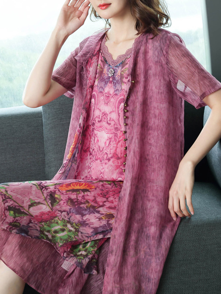 Vintage Floral Chiffon Patchwork Dress