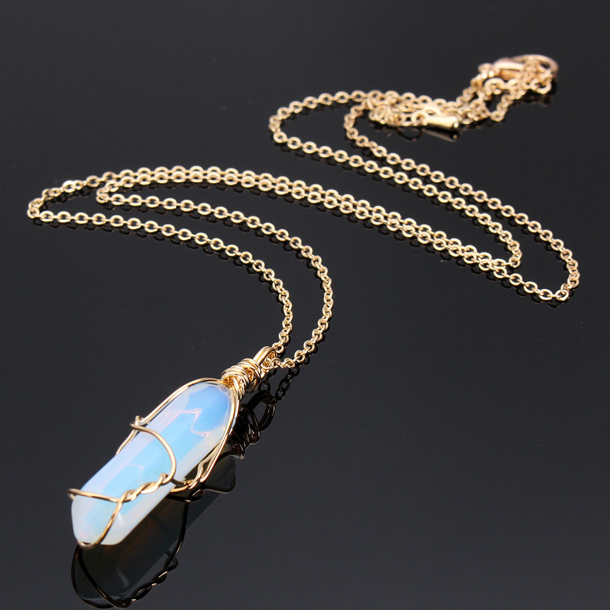 Hexagonal Prism Crystal Quartz Stone Pendant Necklace Jewelry