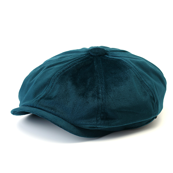 Men's Solid Velvet Winter Warm Octagonal Cap