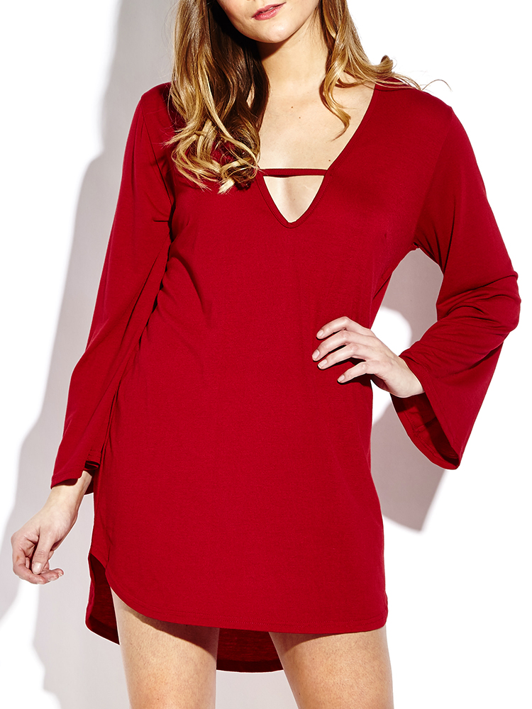 Sexy Long Horn Sleeve V-neck Loose Women Mini Dresses
