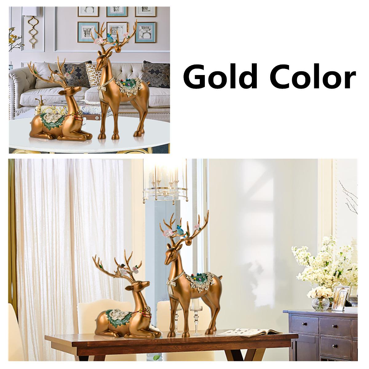 Desktop Resin Deer Figurine Decorations Ornament Living Room Bedroom Home Decor Gifts