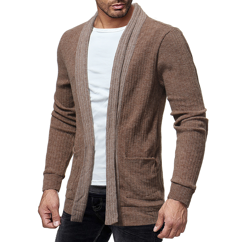 Men's Wool Causal Open Halter Long Sleeve Cardigans