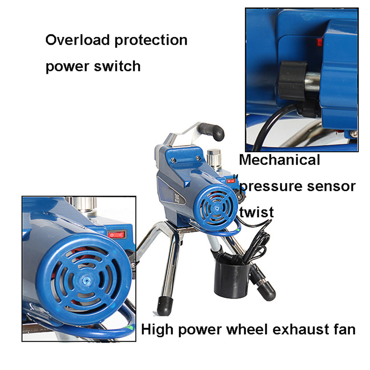 220V High Pressure Airless Wall Paint Spray Gun Sprayer spraying Machine 2200W