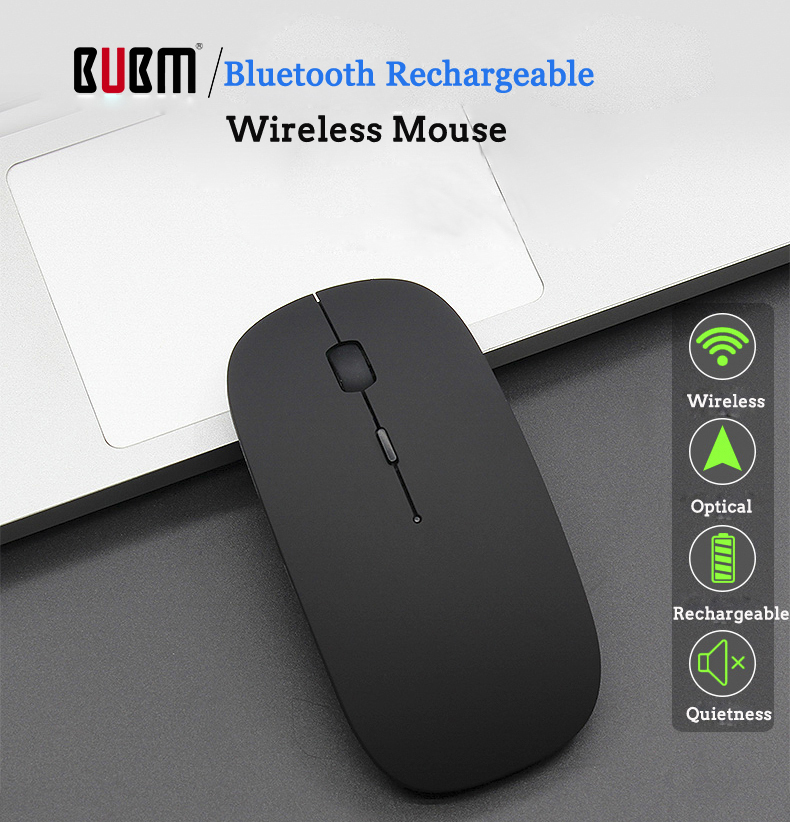 BUBM 1200DPI Wireless bluetooth 4.0 Rechargeable Mouse Ultra Slim Office Gaming Optical Mouse