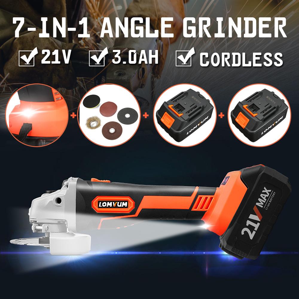 21V agli ioni di litio senza spazzola Cordless Angle Grinder Multifunzionale taglio lucidatura angolo elettrico rettifica macchina di taglio
