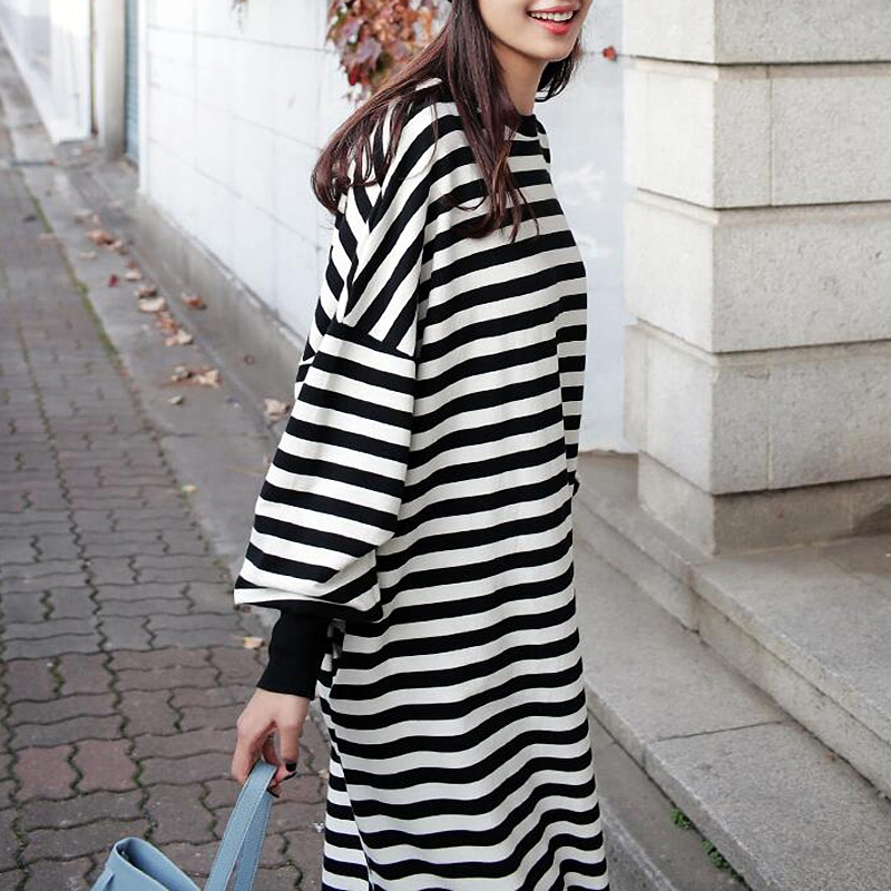 Casual Women Crew Neck Batwing Sleeve Striped Black Long Sweatshirt Dress