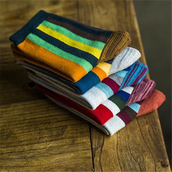 Men Rainbow Bar Socks Cotton Middle Tube Tide Socks Casual