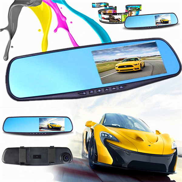 FHD 1080P 4.3 inch Monitor Dash Cam Rear View Mirror Car Recorder Camera DVR