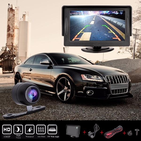 4.3 inch Car TFT LCD Monitor Reversing Parking Rear View Camera Recording VCR Sunshade Kit