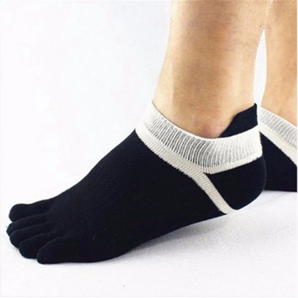 1 Pair Of Mens Cotton Toe Socks Five Finger Sports Outd