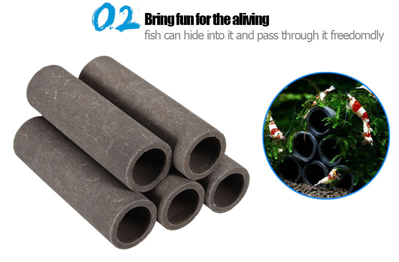 Aquarium Ceramic Shrimp Shelter Tubes House For Small Shrimp Fish Aquarium Decor (5 Tubes / Set)