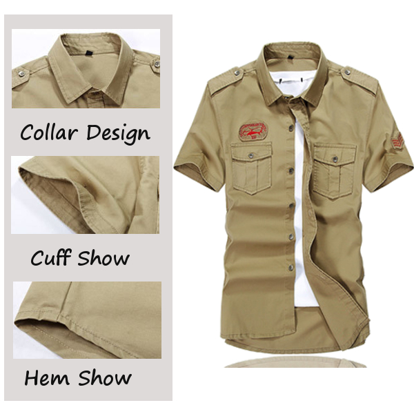 Men Plus Size Double Pocket Turn-down Collar Short Sleeve Cotton Casual Outdoor Shirt