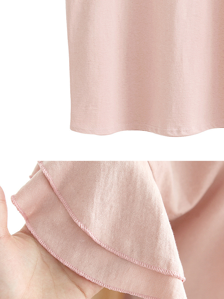 Casual Ruffles Puff Sleeve Solid Color Women A-Line Shirt Dress