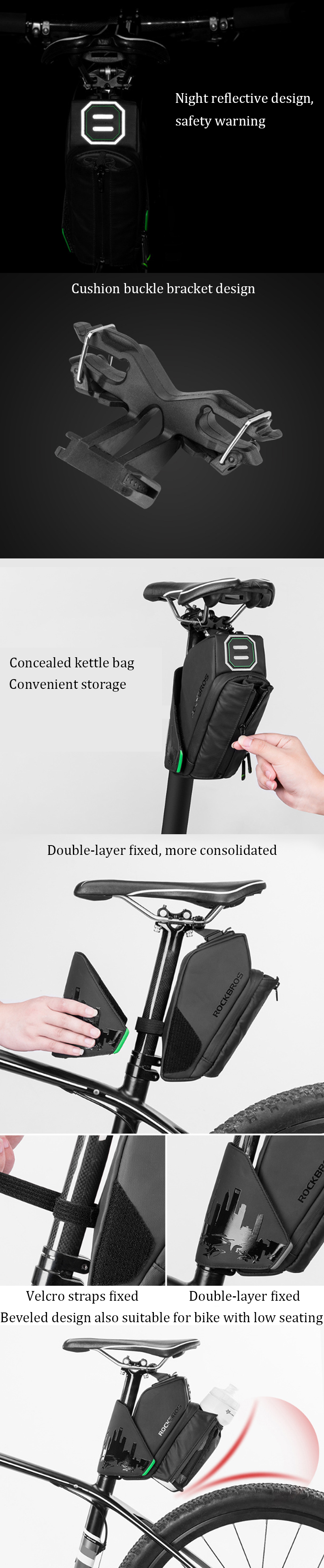 ROCKBROS Bike Bag Saddle Bag With Water Bottle Pocket Waterproof Bicycle Rear Seat Tail Bag Bike Accessories