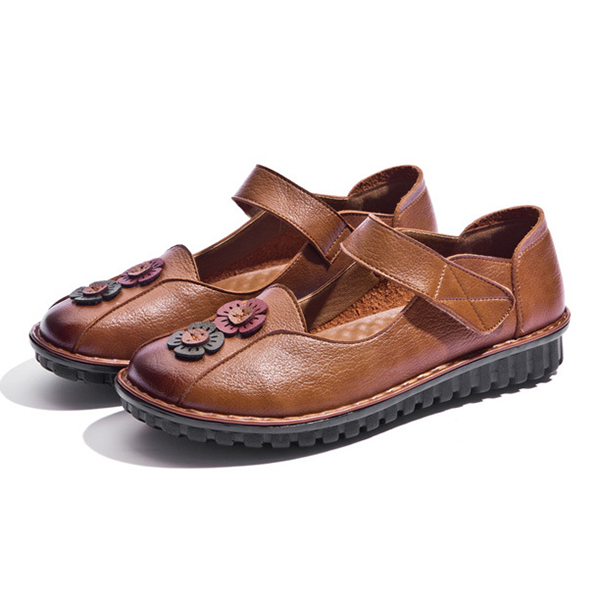 Women Comfy Hook Loop Leather Flat Loafers