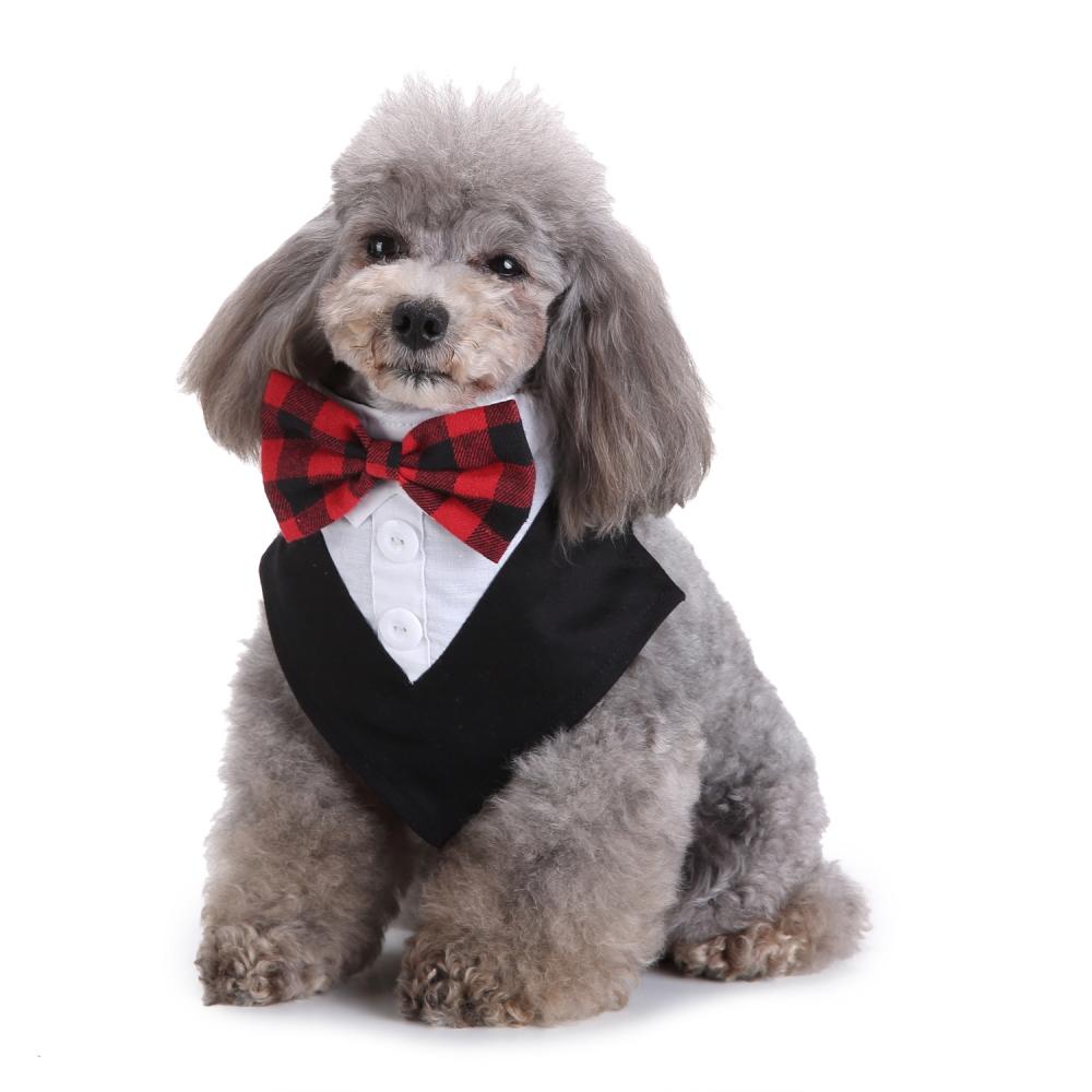 Formal Dog Tuxedo Bandana Ties Adjustable Neckerchief Pet Bow Tie for Wedding Party