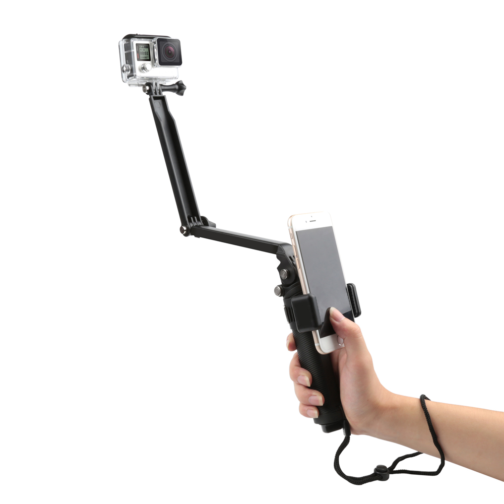 SHOOT XTGP217 Foldable Multi-functional 3-Way Grip Arm Monopod Stand Mini Tripod Selfie Stick for GoPro SJCAM Eken Xiaomi Action Cameras for Smartphones for iPhone for Samsung
