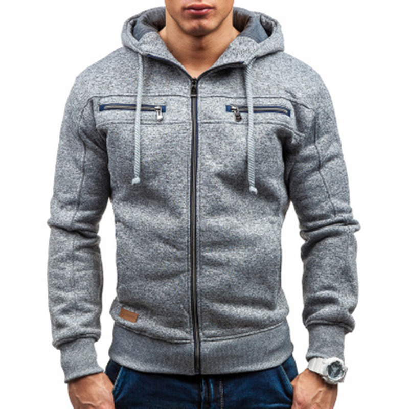Men's Cotton Double Zipper Decoration Casual Sweatshirts