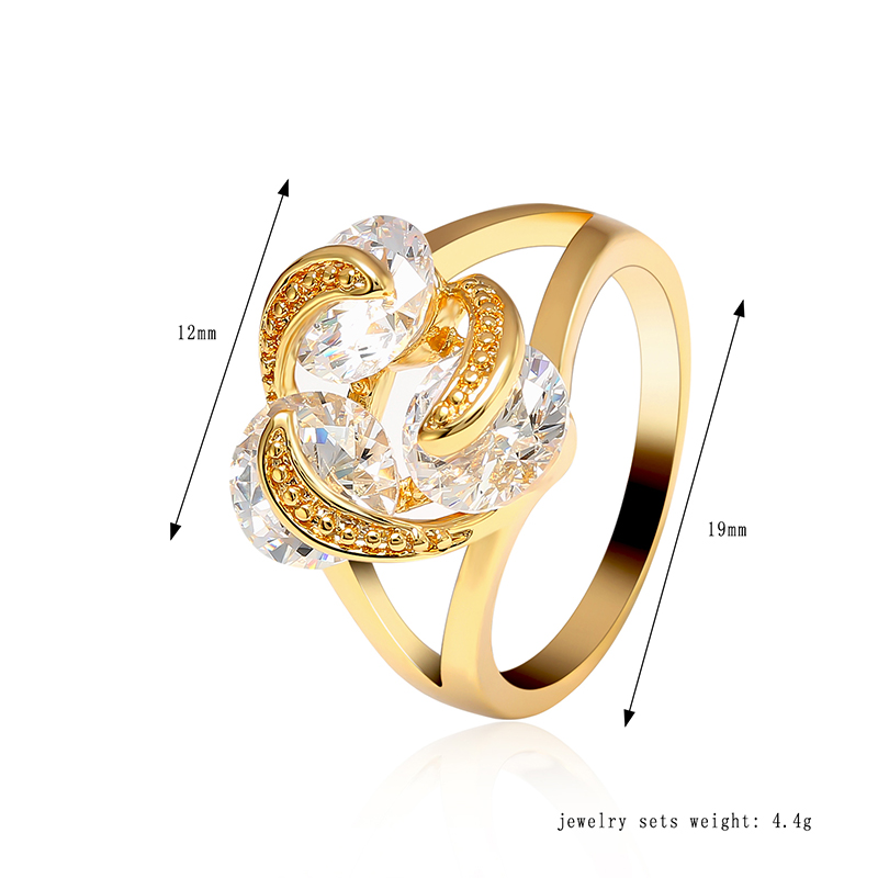 Elegant Trinity Shining Zircon Gold Plated Copper Women Finger Ring Fine Jewelry