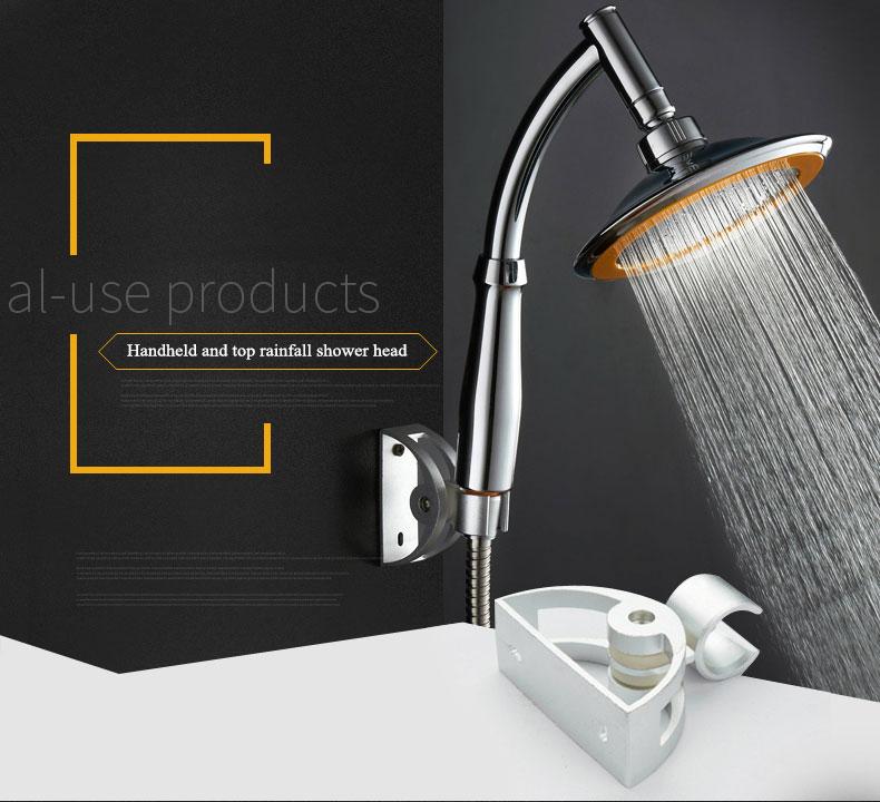 drehbarer edelstahl top niederschlagsdruck duschkopf set mit schlauch und stahlringhalter bei. Black Bedroom Furniture Sets. Home Design Ideas