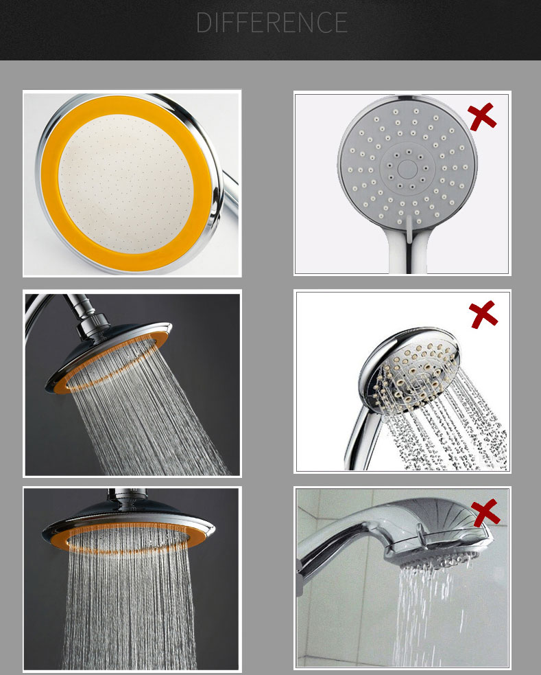 Rotatable Stainless Steel Top Rainfall Pressure Shower Head Set With Hose And Steel Ring Holder