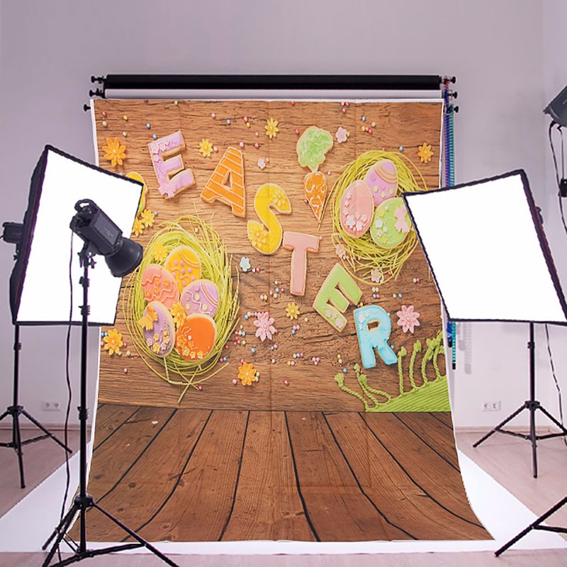 1x1.5m 3x5ft Easter Egg Wall Wooden Floor Vinyl Studio Photography Backdrop Background