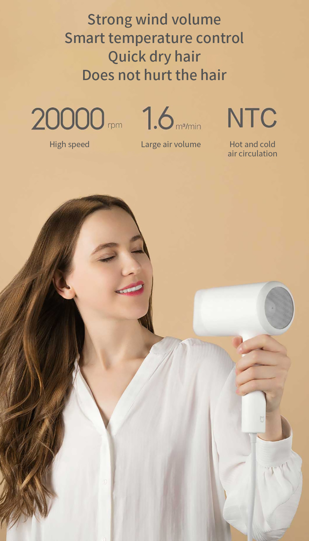 XIAOMI Mijia Portable Water Ion Electric Hair Dryer Quick Dry 1800W High Power Three-gear Adjustment Temperature Hair Dryer Low Roise Blow Dryer for Home Travel Kits White