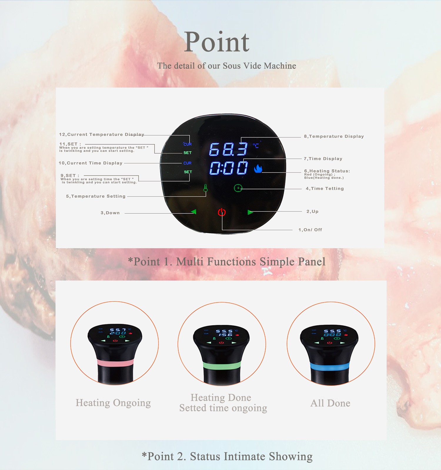 KCASA WIFI Kitchen Sous Vide Cooker Immersion Circulator With Accurate Temperature Control Digital Display