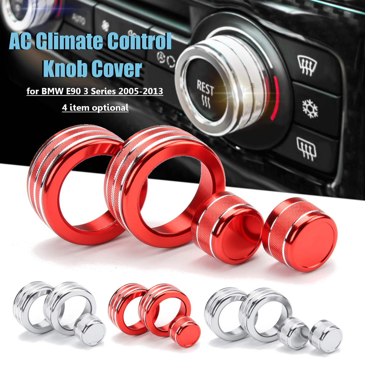 Car Air Conditioning AC Climate Control Stereo Knob Ring Cover for BMW E90 3 Series 2005-2013