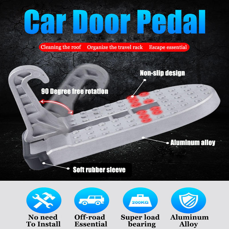 Silver Car Door Latch Hook Folding Foot Pedal Doorstep Rooftop Rack Assistance for SUV Truck N