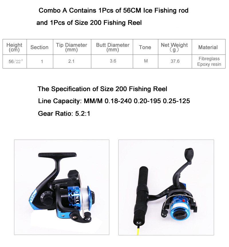 ZANLURE 55/67/72CM Fiberglass Epoxy Resin M Fishing Rod 200/1000 Reel Ice Fishing Rod Reel Combo