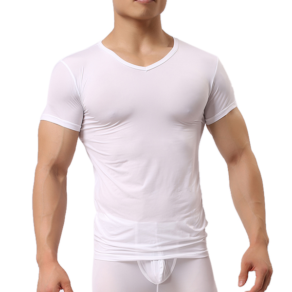 Men's Sports Primer Sexy Tops Pure Color Elastic Bodybuilding Comfortable Wear T-shirt
