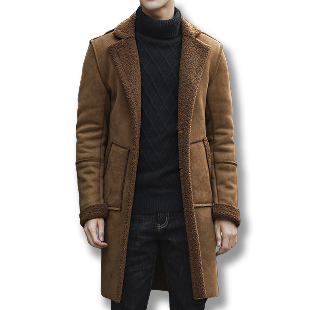 Mens Chic Suede Lamb Fur Coat Mid Long Fleece Warm Jacket