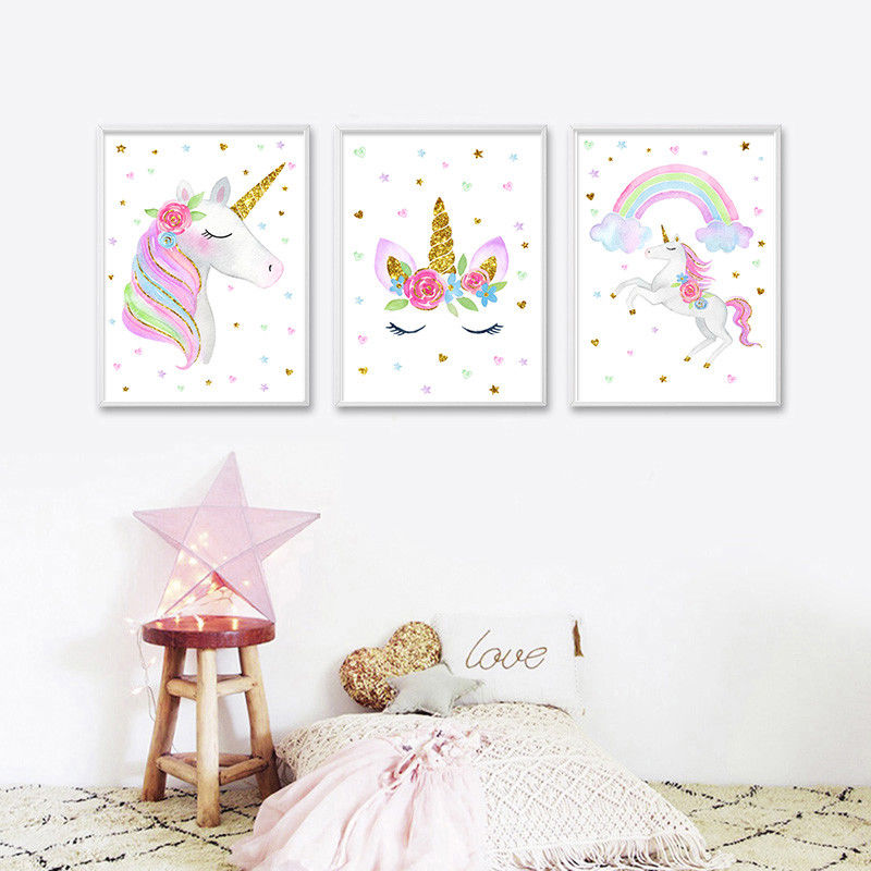 Cute Unicorn Rainbow Canvas Poster Nursery Wall Art Canvas Print Baby Room Decorations