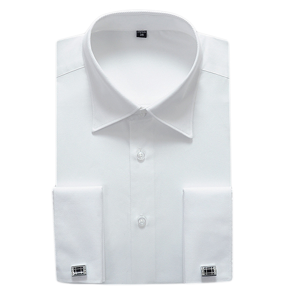 Mens Big Size Casual Solid Color Long Sleeve Folds Formal Shirt Slim Fit Business Dress Shirts