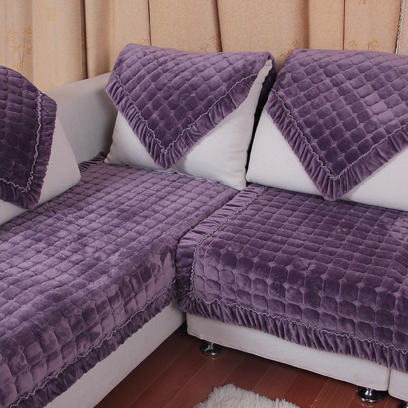 Honana SC-587 European Flannel Simple Winter Plush Non-slip Cushion Modern Sofa Cover Towel